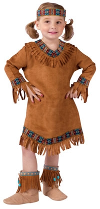 lillte white girl in native american costume