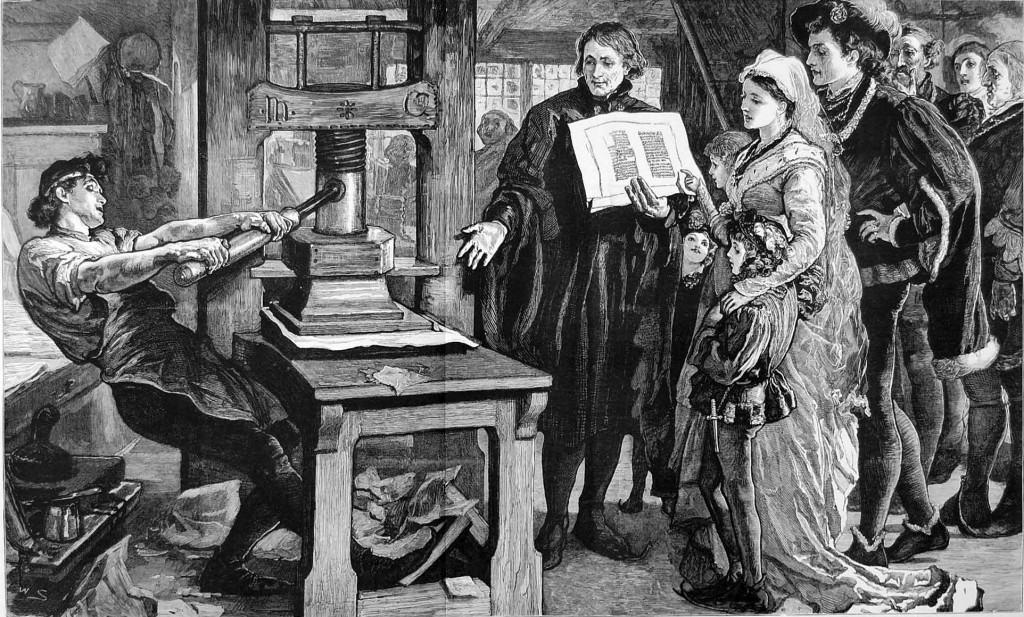 Victorian engraving of Printer working an early Gutenberg letter press from the 15th century.