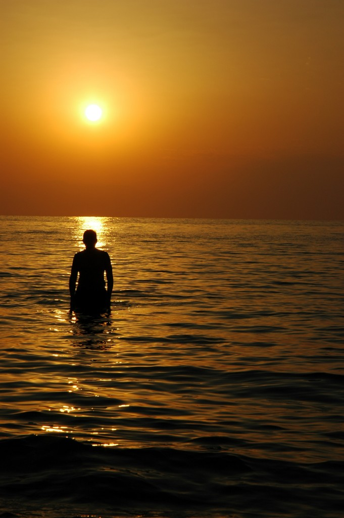silhouette in sunset ocean