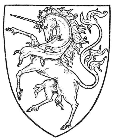 A fierce unicorn rears inside a shield.