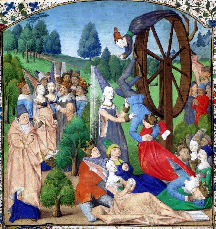 Medieval Nobles watch Fortune's Wheel spin.