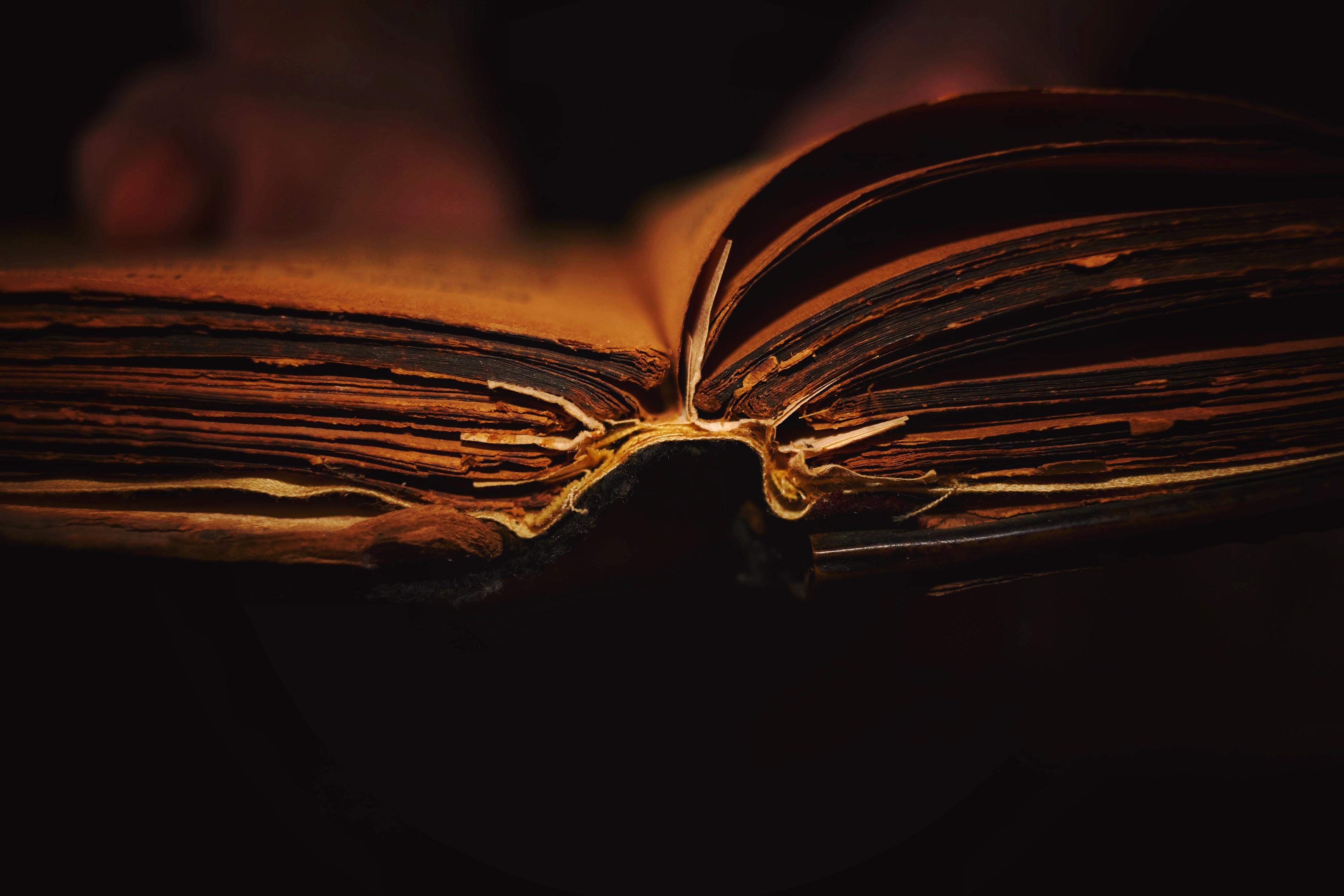 an ancient open book