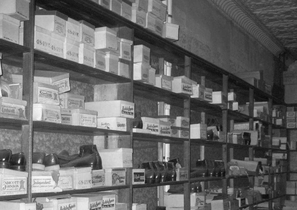 Shoeboxes in an old shop